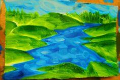 estonia river hills landscape blue green. oil painting