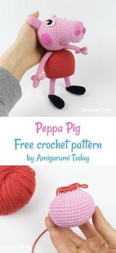 Crochet Peppa Pig free crochet pattern by Amigurumi Today - Ganchillo ❤ - Peppa Pig Crochet, Cute Crochet, Crochet Patterns Amigurumi, Crochet Toys, Crochet Neck Warmer, Knitted Animals, Crochet Projects, Origami, Miniature
