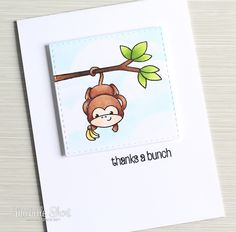 Hello there, today I have another Clearly Besotted teasers to share with you. For my card today, I am using the new super cute Cheeky Monk. Cards Diy, Handmade Cards, Thanks A Bunch, Card Tutorials, Lawn Fawn, Stamping Up, Baby Cards, Clear Stamps, I Card