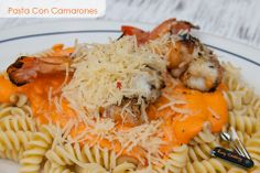 Pasta con Camarones #Food #comida Easy Cooking, Shrimp, Favorite Recipes, Meat, Food, Cream Cheese Bars, Hipster Stuff, Beef, Meal