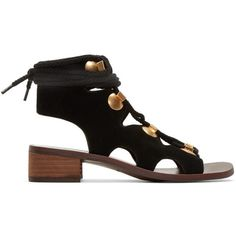 See by Chloé Black Suede Lace-Up Sandals (€355) ❤ liked on Polyvore featuring shoes, sandals, black, suede shoes, black block heel shoes, black laced shoes, lace up block heel sandals and black sandals