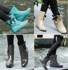 Cute womens girls rain boots Polka dots Bowknot bedeck Ankle Boots rainshoes
