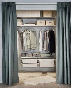7 IKEA Closets that Look Like a Million Bucks This Algot system is not just concealed behind a curtain: it also boasts opaque drawers, and plenty of storage boxes in coordinating colors.