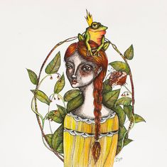 Frog princess Girl portrait green yellow by NORAillustration