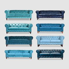 BLUE Chesterfield sofas.