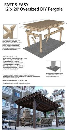 a Fast DIY Beautiful Backyard Shade Structure Fast and easy DIY pergola!Fast and easy DIY pergola!Build a Fast DIY Beautiful Backyard Shade Structure Fast and easy DIY pergola!Fast and easy DIY pergola! Timber Pergola, Outdoor Pergola, Wooden Pergola, Backyard Pergola, Pergola Lighting, Cedar Pergola, Aluminum Pergola, Rustic Pergola, Pergola Carport