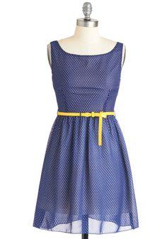 Drop of Lemon Dress - Short, Blue, Yellow, Polka Dots, Casual, A-line, Sleeveless, Summer, Belted