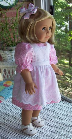 American Girl doll or 18 inch doll dress pinafore by ASewSewShop, $18.99