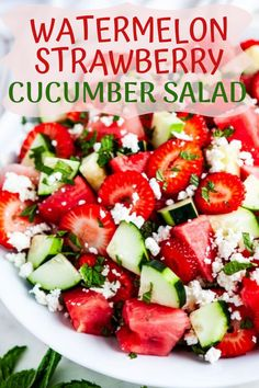 Summer in a bowl!  My Cucumber Watermelon Strawberry Salad recipe is the perfect recipe for the season.