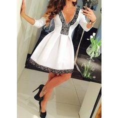 Lace Panel V Neck White Mini Dress