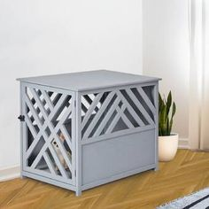 Shop for PawHut Natural Diagonal Dog Cage/Crate for Indoor Use with a Natural Fir Wood Build & Unique Slant Aesthetic Design. Get free delivery On EVERYTHING* Overstock - Your Online Dog Supplies Store! Dog Crate Table, Wood Dog Crate, Crate End Tables, Dog Crate Furniture, Diy Dog Crate, Metal Furniture, Dog Kennel Designs, Diy Dog Kennel, Dog Kennel End Table