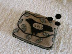 Primitive Folk Art Wool Box Pincushion Bird+Vine Applique Pinkeep+Pins USAPRIM   Antiques, Primitives   eBay!