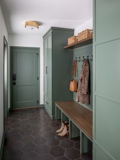 Ben Moore Enchanted Forest dark hex tile floor custom cabinetry custom millwork modern organic style colorful mudroom interior design entryway Design by Design Manifest Photo by Raquel Langworthy Mudroom Laundry Room, Sweet Home, Home Renovation, Room Inspiration, New Homes, House Design, Home Decor, Bootroom, Hex Tile