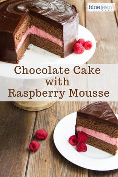 A rich and moist chocolate cake recipe is a must-have in any cook's repertoire. Layered with a light raspberry mousse makes it even more irresistible! Try this easy made from scratch cake recipeand make your family and friends feel really special! Raspberry Mousse, Chocolate Raspberry Cake, Dark Chocolate Cakes, Chocolate Cream, Blue Jean Chef, Cake Recipes, Dessert Recipes, Classic Desserts, Cupcake Cakes