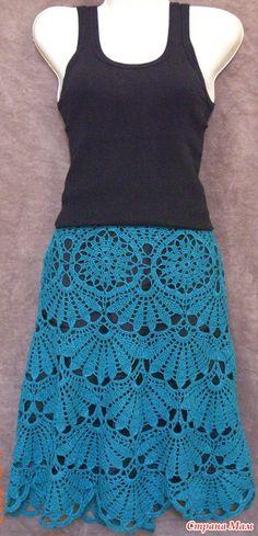Lovely fan motif crochet skirt. Striking!!!