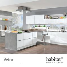 Vetra. Another new string to our bow, Vetra is the first Habitat kitchen to feature matt-finish glass. With white door and drawer  fronts in this or high gloss, it clearly shows that transparency need not reveal all.