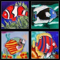"Set 4 4""x4"" Tropical Fish Hand Painted Ceramic Deco Art Tile Trivet Coasters X03. $32.95, via Etsy."