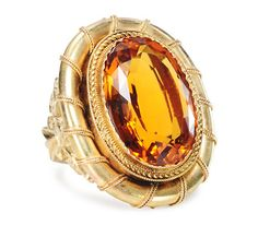 Magnificent Citrine Dinner Ring - The Three Graces.  Was a Victorian brooch, now turned into a ring.
