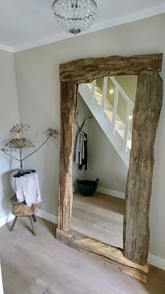 A look inside Korine - De Wemelaer - Mirror with wooden edge rural hall - Bathroom Wall Decor, Bedroom Decor, Bathroom Ideas, Shower Ideas, Beach Living Room, Diy Casa, Rustic Furniture, Home And Living, Diy Home Decor