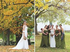 #bridesmaids in #green under Autumn leaves | Katie Estes Photography | The Lovely Find