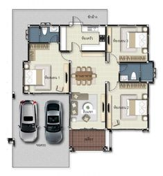 3 Concepts of Bungalow House - House And Decors Bungalow Floor Plans, Modern House Floor Plans, Narrow Lot House Plans, My House Plans, Family House Plans, 3 Storey House Design, Sims House Design, Bungalow Haus Design, Modern Bungalow House
