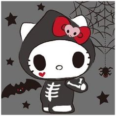 Hello Kitty Art, Hello Kitty My Melody, Hello Kitty Pictures, Sanrio Wallpaper, Hello Kitty Wallpaper, Creepy Disney, Chibi, Hello Kitty Halloween, Halloween Silhouettes