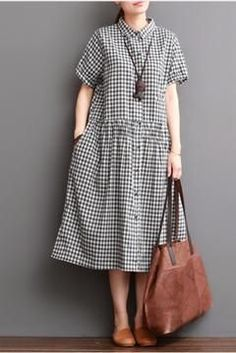 Black and White Collared Plaid Dress