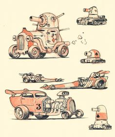 Hotrods and Tanks by ~JakeParker on deviantART ✤    CHARACTER DESIGN REFERENCES   Find more at https://www.facebook.com/CharacterDesignReferences if you're looking for: #line #art #character #design #model #sheet #illustration #expressions #best #concept #animation #drawing #archive #library #reference #anatomy #traditional #draw #development #artist #pose #settei #gestures #how #to #tutorial #conceptart #modelsheet #cartoon #vehicle #car #cars #blueprint @Rachel Oberst Design References