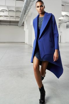 Luxe, Masculine Dressing With Feminine Twist In Antonio Berardi Pre Fall 2015 - Muted blue colored coat in a modern cut looks very attractive styled with a cocktail dress.