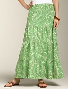 86f8d6a64b Talbots - Cocktail Paisley Tiered Maxi-Skirt Summer Skirts