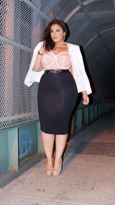 Curvy Woman Tight Black Pencil Skirt Pink Bustier Top White Jacket and Pink High Heels