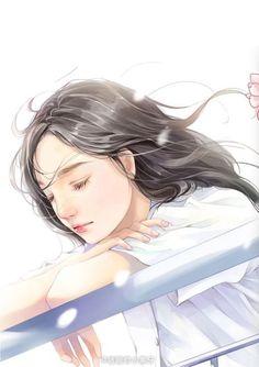 ღWorld Of Illustrationsღ Anime Art Girl, Manga Girl, Anime Girls, Beautiful Anime Girl, Anime Love, Anime Chibi, Kawaii Anime, Sad Art, Love Illustration