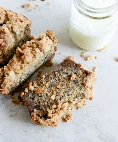 whole wheat banana bread (made with coconut oil) with coconut cinnamon streusel