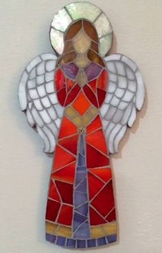Mosaic Angel by EveMosaics Mosaic Crafts, Mosaic Projects, Stained Glass Projects, Stained Glass Patterns, Mosaic Patterns, Mosaic Art, Mosaic Glass, Mosaic Tiles, Mosaic Rocks