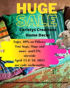 We're having a sale at Caristys Get ready for the summer season. April 1-16, 2021. Save 40% on Pillows, tote bags, mugs and 15% sitewide! Home decor, patio living, garden flags, leisure wear, and so much more! Creation Homes, Decor Pillows, Party Napkins, Paper Products, Computer Case, Garden Flags, Nursery Room, Home Decor Items, Computer Accessories