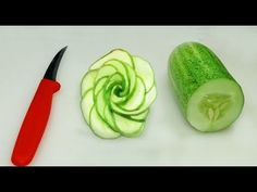How To Make A Cucumber Rose/ How to Make Cucumber Rose Garnish??]] - YouTube