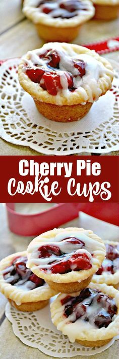 Cherry Pie meets Sugar Cookie in these delicious, bite-sized Cherry Pie Cookie Cups!