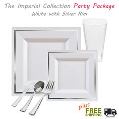 Posh Party Supplies - Imperial GRAND Party Package - Square White with Silver Rim Dinner Settings  sc 1 st  Pinterest & Posh Party Supplies - Stunning Disposable White with Silver Rim ...