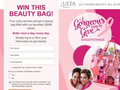 Enter the Ulta Beauty A Gorgeous Way To Give Sweepstakes for a chance to win 1 of 4 ULTA Gift Bags worth $599!