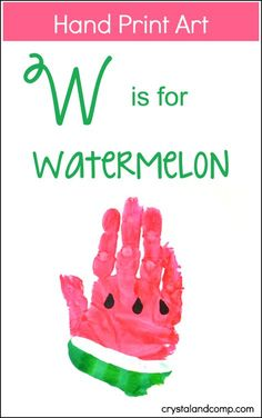 Letter of the Week Alphabet Crafts: W is for Watermelon Craft | Summer Art Project by funhandprintartblog.com for Crystal & Co.
