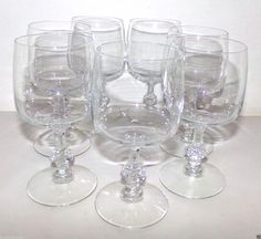 Set of 7 Wine Water Glasses Goblets Clear Glass 10 oz. ea #Unmarked