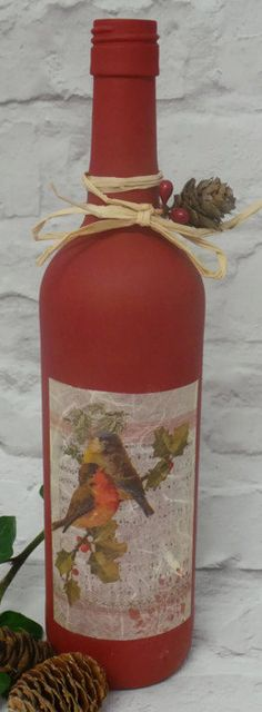 Sale, Christmas Wine Bottles, Christmas Decorations, Painted Bottles, Decorated Bottles, Christmas Decor, Decoupage Bottle, Candle Holder,