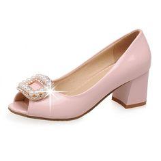 Большой размер 9 10 роскошных женщин туфли на высоком каблуке весна заглянуть ног основные свадебные толщиной среднего высокие каблуки женский жемчужные твердые розовые туфли 1 A07 купить на AliExpress