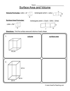 area volume worksheet 1 - Surface Area And Volume Worksheet
