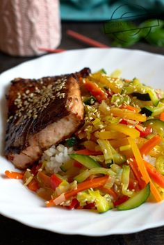 Łosoś Teriyaki Kobieceinspiracje.pl Chili, Pork, Beef, Fish, Cooking, Kale Stir Fry, Meat, Kitchen, Chile