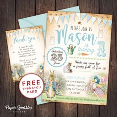 A perfect invitation for a special little bunny Peter rabbit themed invite and FREE thank you card. We customise, you print