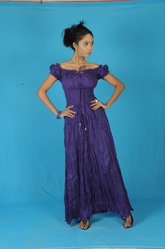 Purple Cotton Peasant Sun Long Maxi Boho Hippie Gypsy Beach Casual Ladies Women Festival Evening Dress s m l