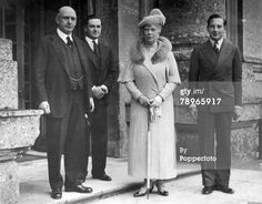 HM, Queen Mary (on a tour of historical places) pictured with left-right, the first Lord Hesketh, The Hon, Frederick Fermor-Hesketh and the Hon, John Fermor-Hesketh at Easton Neston, 1937