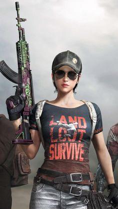 PUBG Girl With Gun Survivor Pass 4K Ultra HD Mobile Wallpaper.