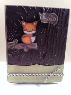 handmade card with the Lawn Fawn Into the Woods Stamp Set; the cute fox is colored with copics